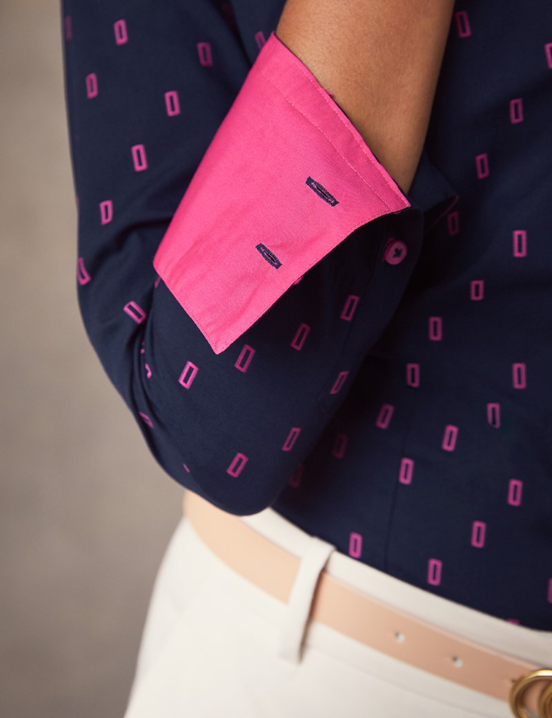 Women's Navy & Pink Rectangle Dobby Fitted Shirt - Single Cuff