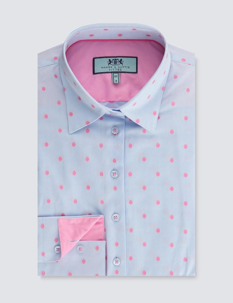 Women's Blue & Pink Dobby Spot Fitted Shirt - Single Cuff