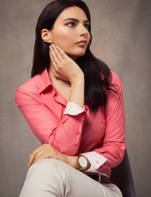 Women's Coral Dobby Fitted Shirt - Single Cuff