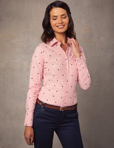 Women's Red & Navy Stripy Stars Print Fitted Shirt - Single Cuff