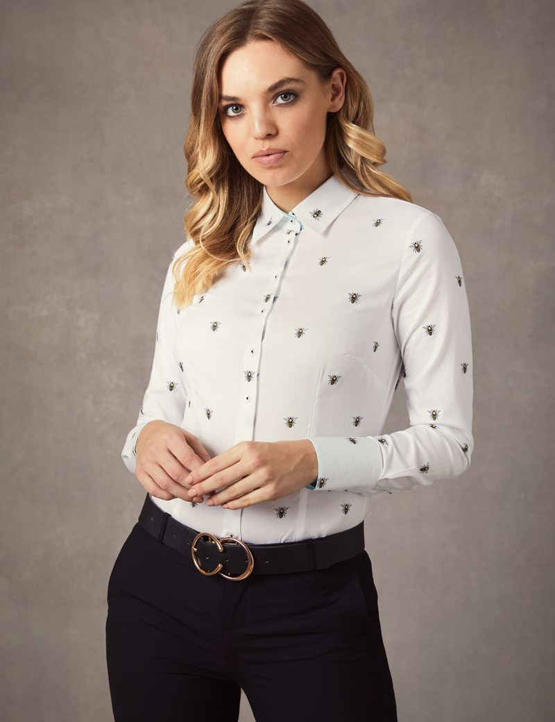 Women's White Dobby Bee Fitted Shirt - Single Cuff
