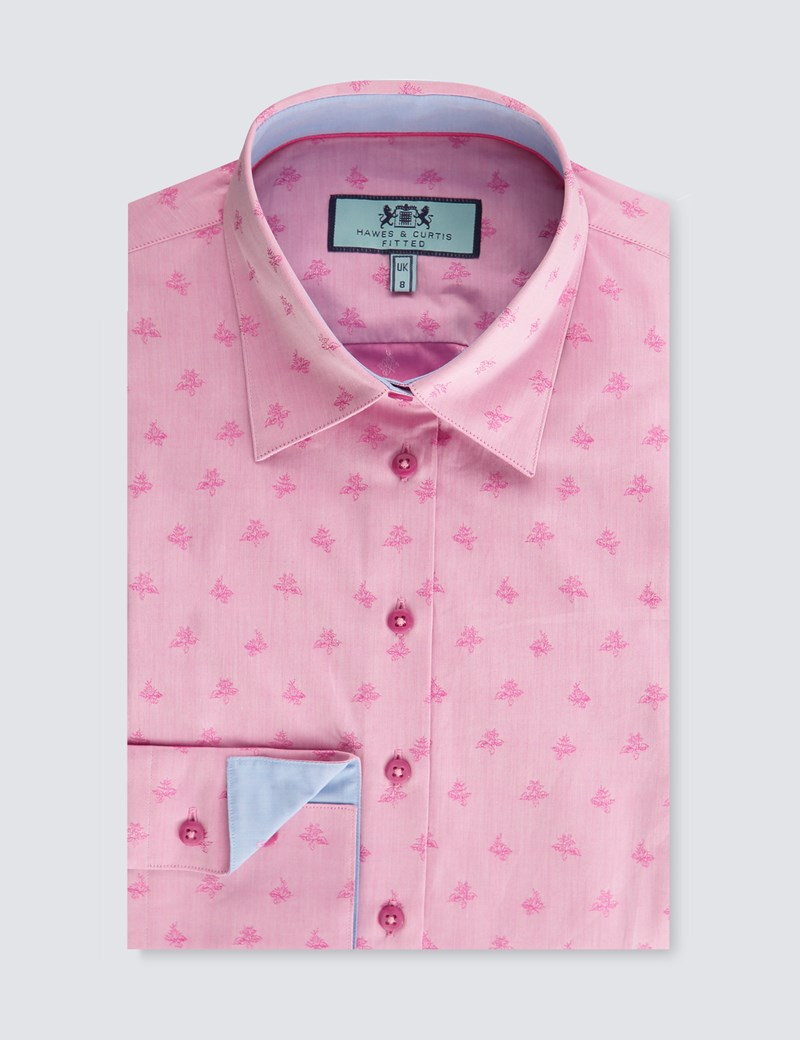 Women's Pink Jacquard Floral Fitted Shirt - Single Cuff