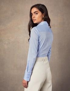 Bluse – Slim Fit – Baumwolle – Kornblumenblau mit Dobby-Look