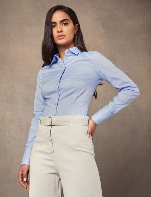 Women's Cornflower Blue Dobby Fitted Shirt - Single Cuff