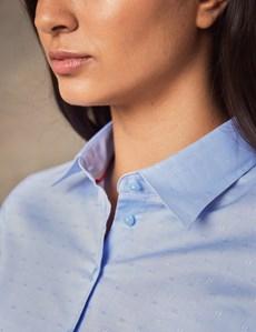Women's Cornflower Blue Dobby Fitted Shirt - Single Cuff