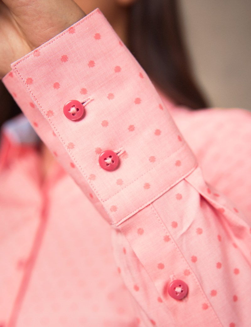 Women's Coral Dobby Spot Fitted Shirt - Single Cuff