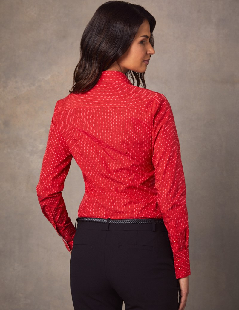 Women's Red & White Dobby Spot Fitted Shirt - Single Cuff