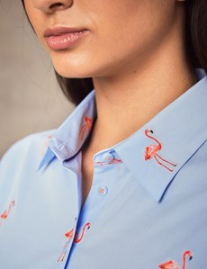 Women's Blue & Pink Dobby Flamingo Print Fitted Shirt - Single Cuff