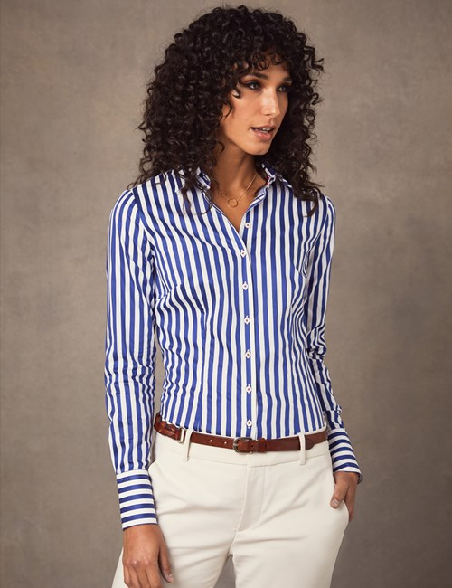 Women's Blue & White Bengal Stripe Print Fitted Shirt - Single Cuff