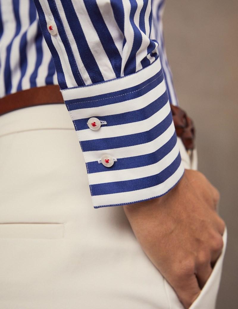 Bluse – Slim Fit – Baumwolle – Maritim gestreift