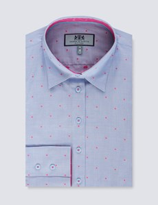 Women's Blue & Fuchsia Geometric Print Fitted Shirt - Single Cuff