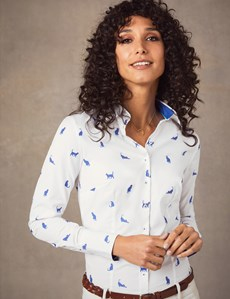 Women's White & Blue Dobby Cats Fitted Shirt - Single Cuff