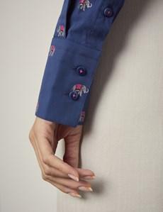 Women's Navy & Fuchsia Dobby Elephants Fitted Shirt - Single Cuff