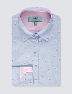 Women's Blue & Pink Dobby Butterfly Fitted Shirt - Single Cuff