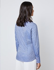 Women's Navy & White Dobby Floral Fitted Shirt - Single Cuff