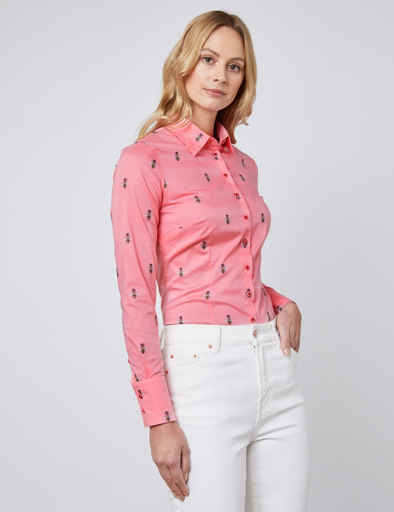 Women's Pink & Black Dobby Bee Fitted Shirt - Single Cuff