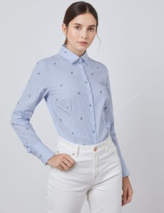 Women's Blue & White Dobby Birds Stripe Fitted Shirt - Single Cuff