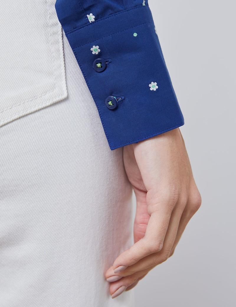 Bluse – Slim Fit – Baumwolle – navy mit Dobby floral & gepunktet