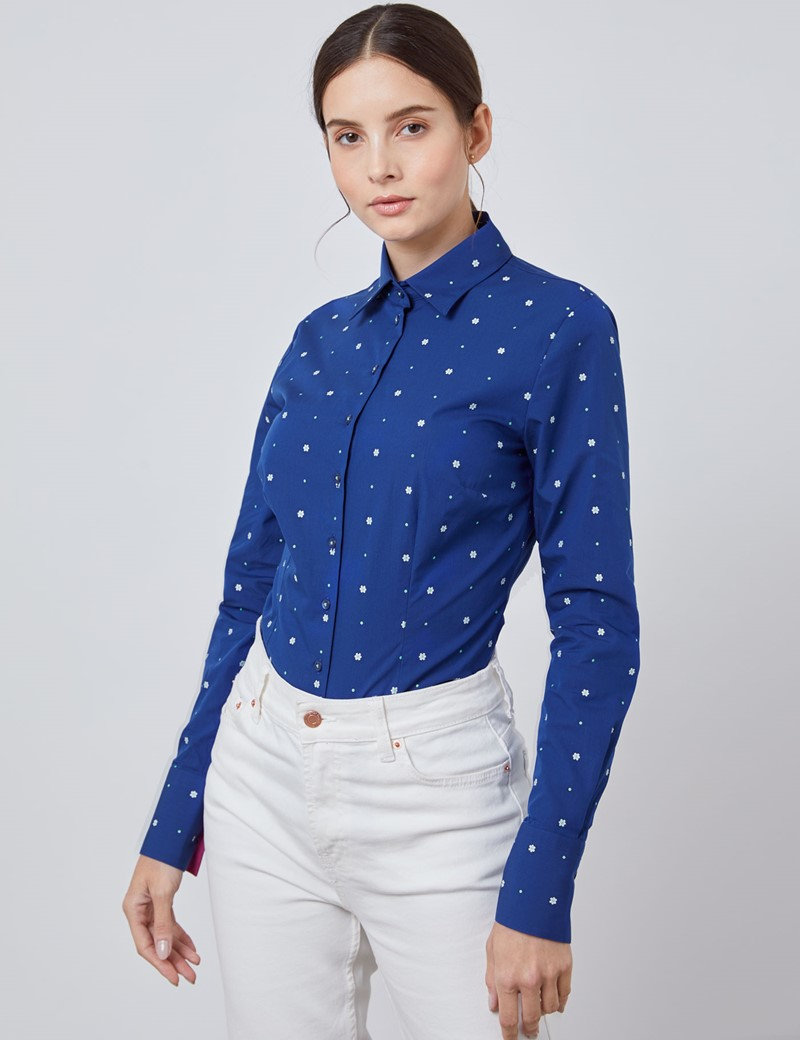Women's Navy & White Dobby Spot Floral Fitted Shirt - Single Cuff