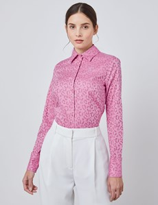 Women's Pink Animal Print Fitted Shirt - Single Cuff