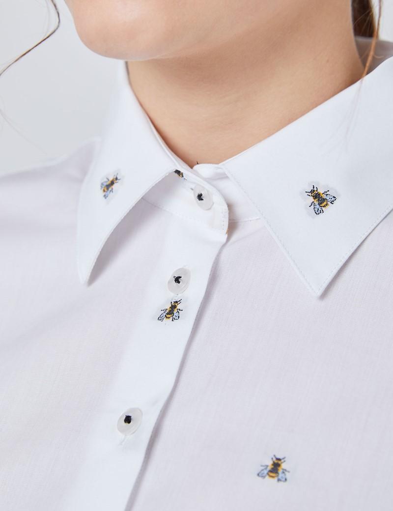 Bluse – Slim Fit – Baumwolle – weiß mit Dobby Bienchen