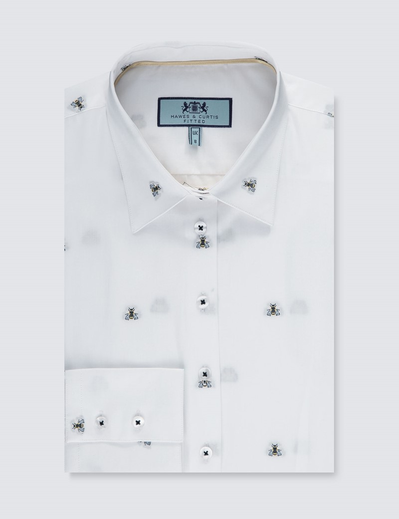 Women's White Dobby Bee Print Fitted Shirt - Single Cuff