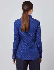 Women's Navy & Pink Dobby Hearts Fitted Shirt - Single Cuff