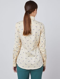 Women's Cream Dobby Sausage Dog Fitted Shirt - Single Cuff