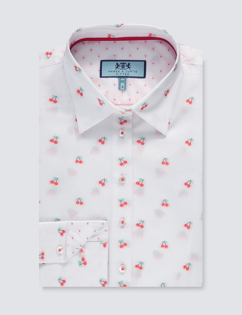 Women's White & Red Dobby Cherries Fitted Shirt - Single Cuff