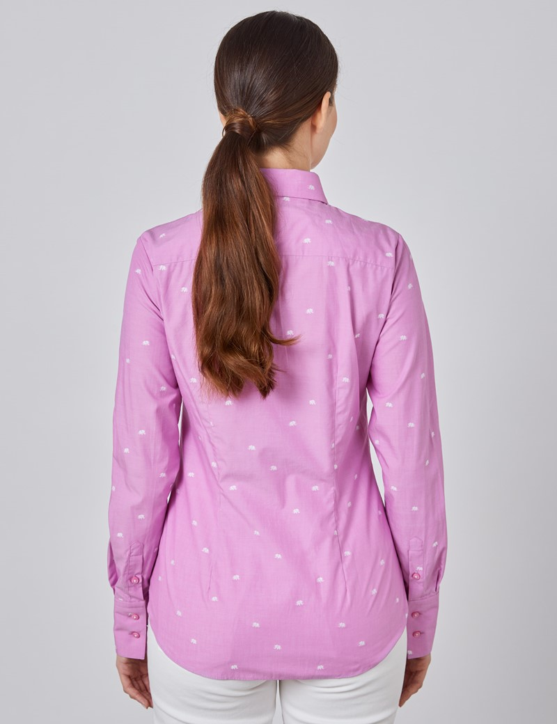 Women's Pink Dobby Elephants Fitted Shirt - Single Cuff