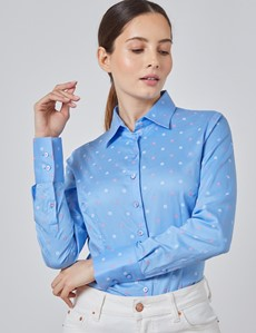 Women's Blue & Pink Dobby Floral Fitted Shirt - Single Cuff