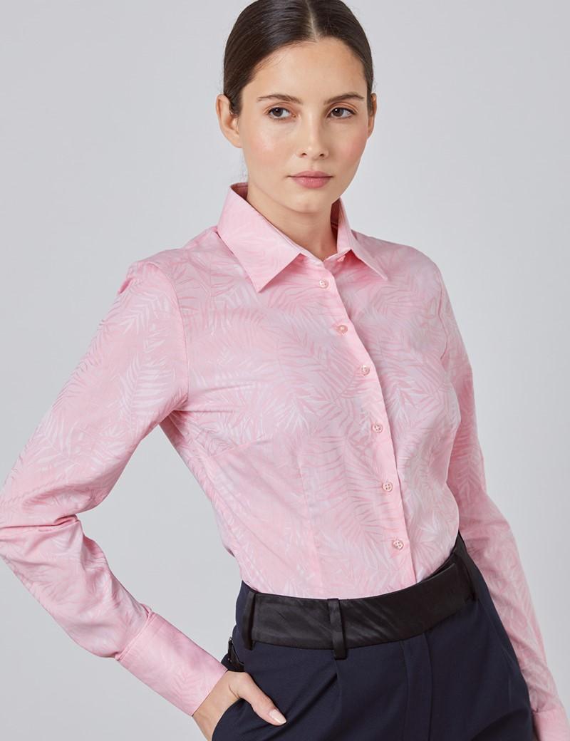 Women's Pink Jacquard Fitted Shirt - Single Cuff