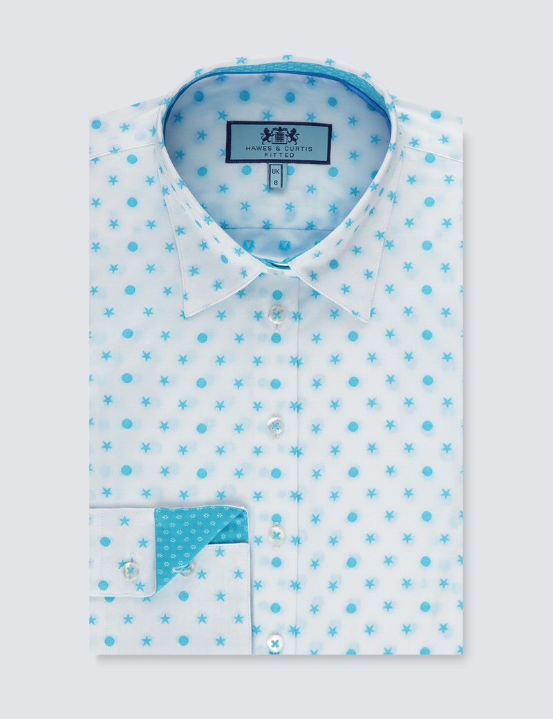 Women's White & Turquoise Dobby Stars & Spots Fitted Shirt - Single Cuff