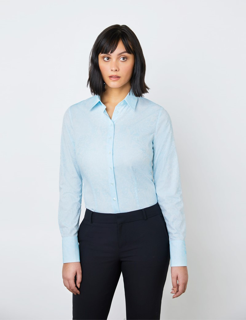 Women's White & Light Blue Jacquard Self Paisley Fitted Shirt - Single Cuff