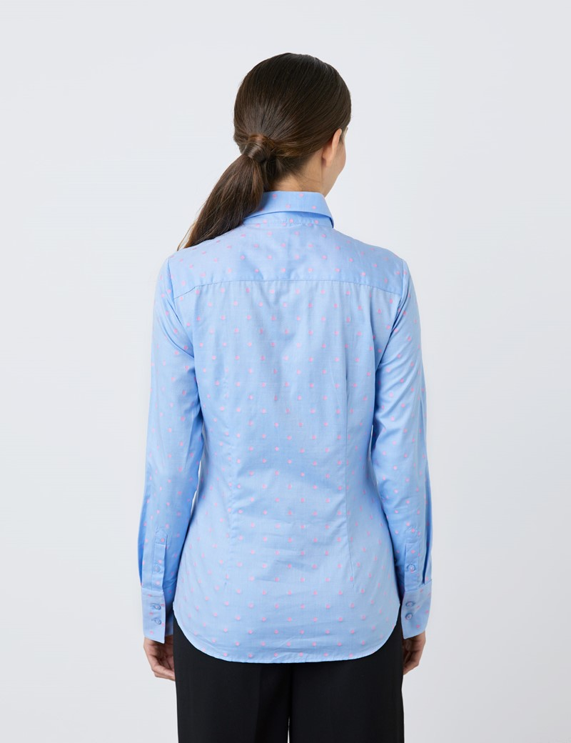 Women's Blue & Pink Dobby Spots Fitted Shirt - Single Cuff