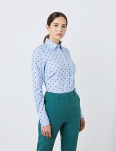 Women's Light Blue & Dark Blue Dobby Little Flowers Fitted Shirt - Single Cuff