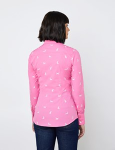 Women's Pink & White Cats Design Fitted Shirt - Single Cuff