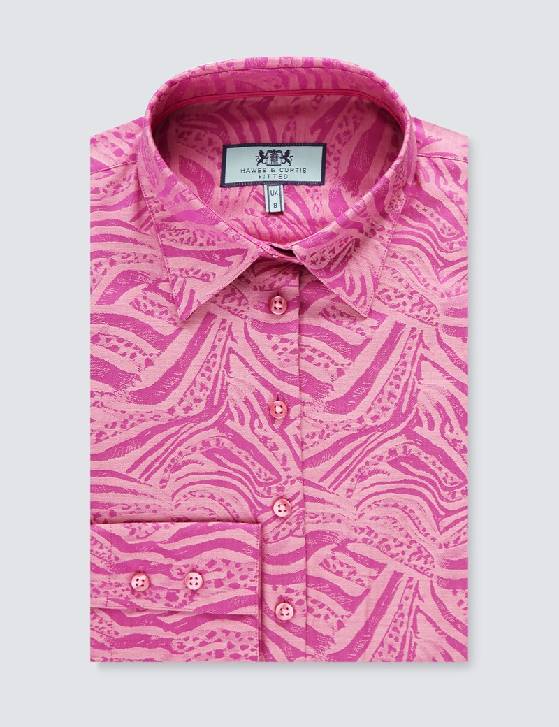 Women's Berry & Pink Jacquard Self Print Fitted Shirt - Single Cuff