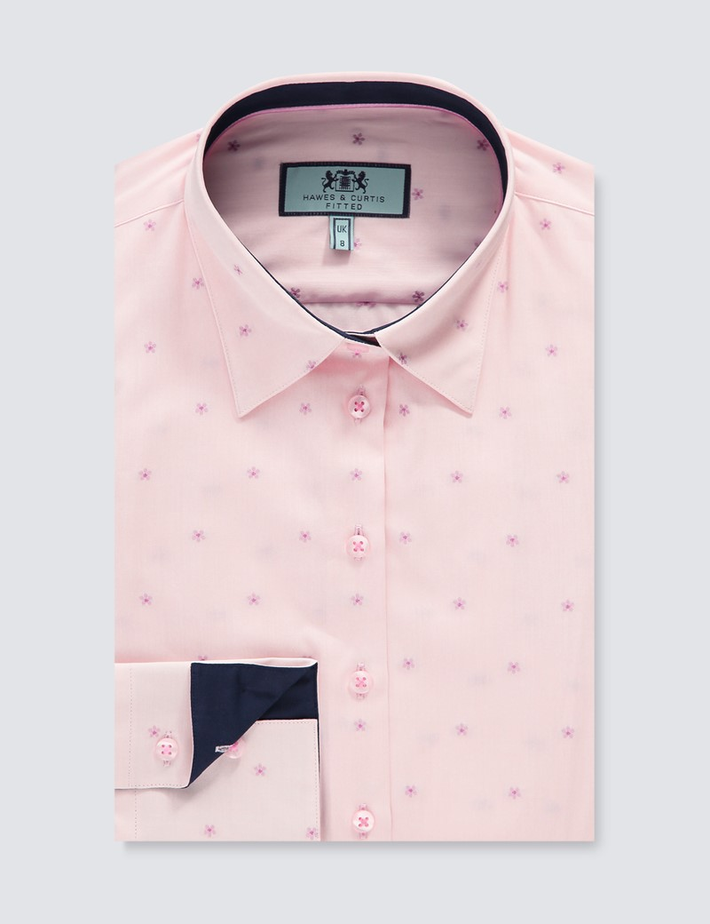Women's Light Pink Floral Fitted Shirt - Single Cuff