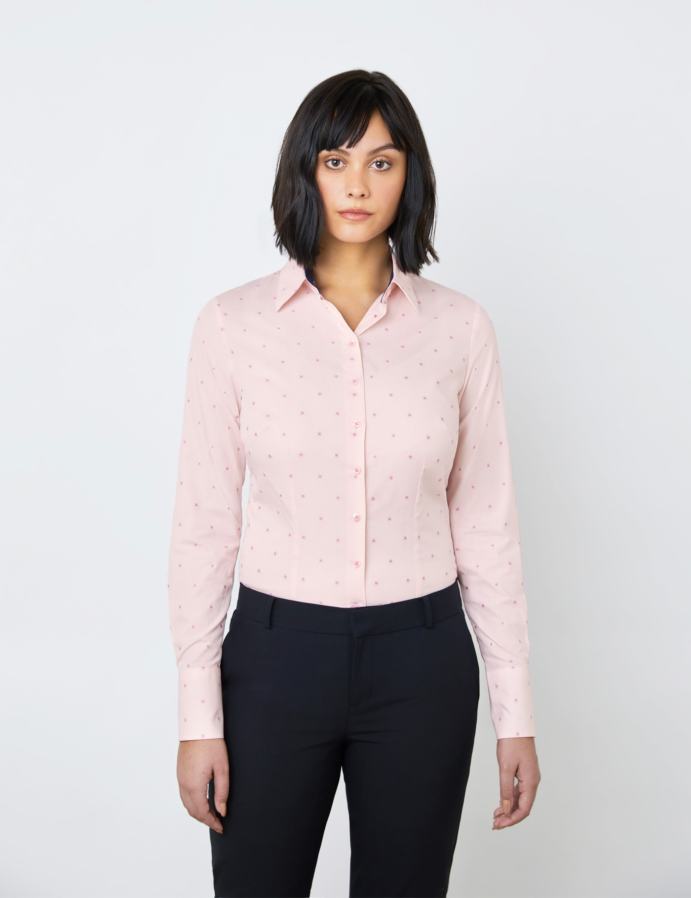 Hawes & Curtis Women's Floral Fitted Shirt In Light Pink | Size 22 | Single Cuff