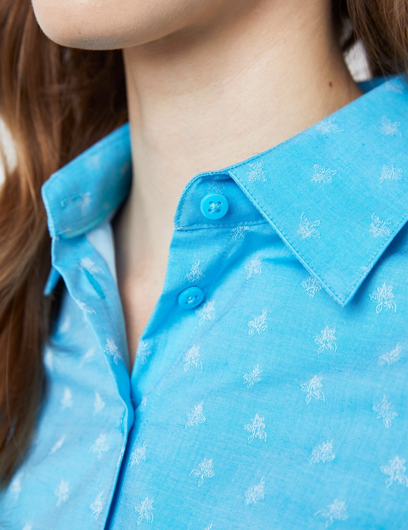 Women's Light Blue & Blue Floral Dobby Fitted Shirt - Single Cuff