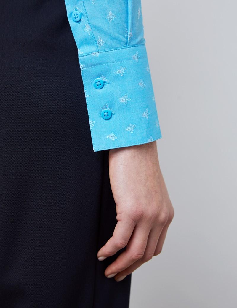 Bluse – Slim Fit – Baumwolle – hellblau Jacquard