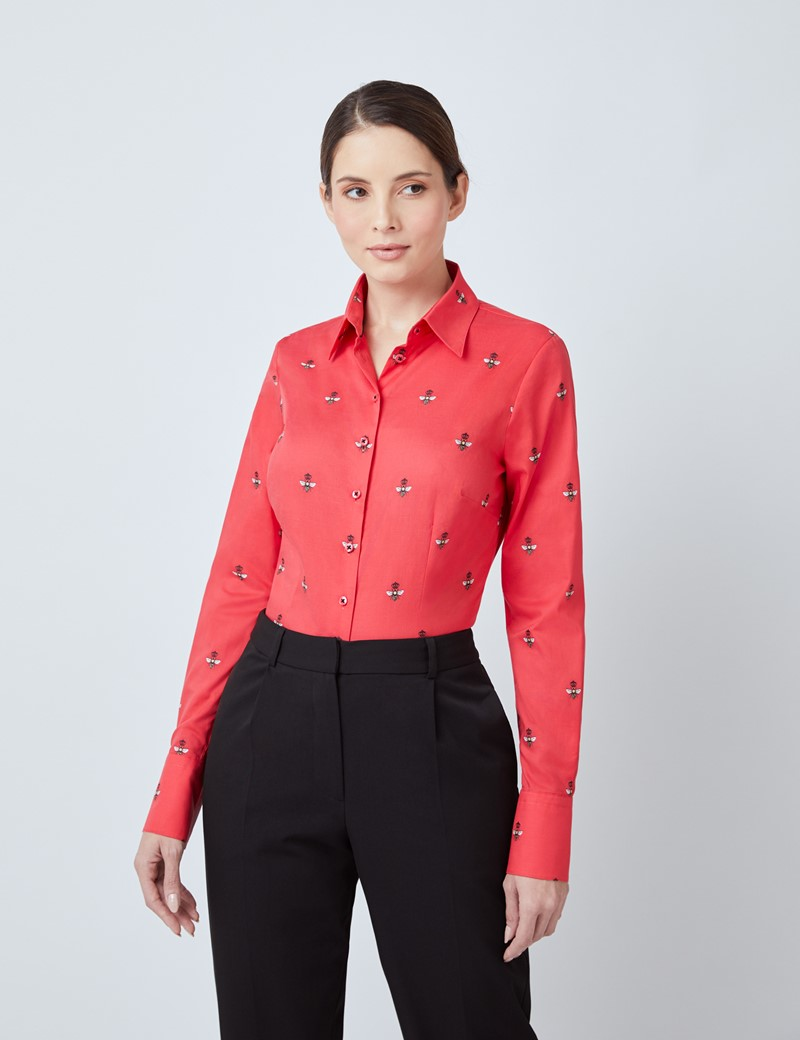 Women's Red & Yellow Dobby Queen Bees Fitted Shirt