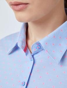 Women's Light Blue & Pink Spots Fitted Shirt
