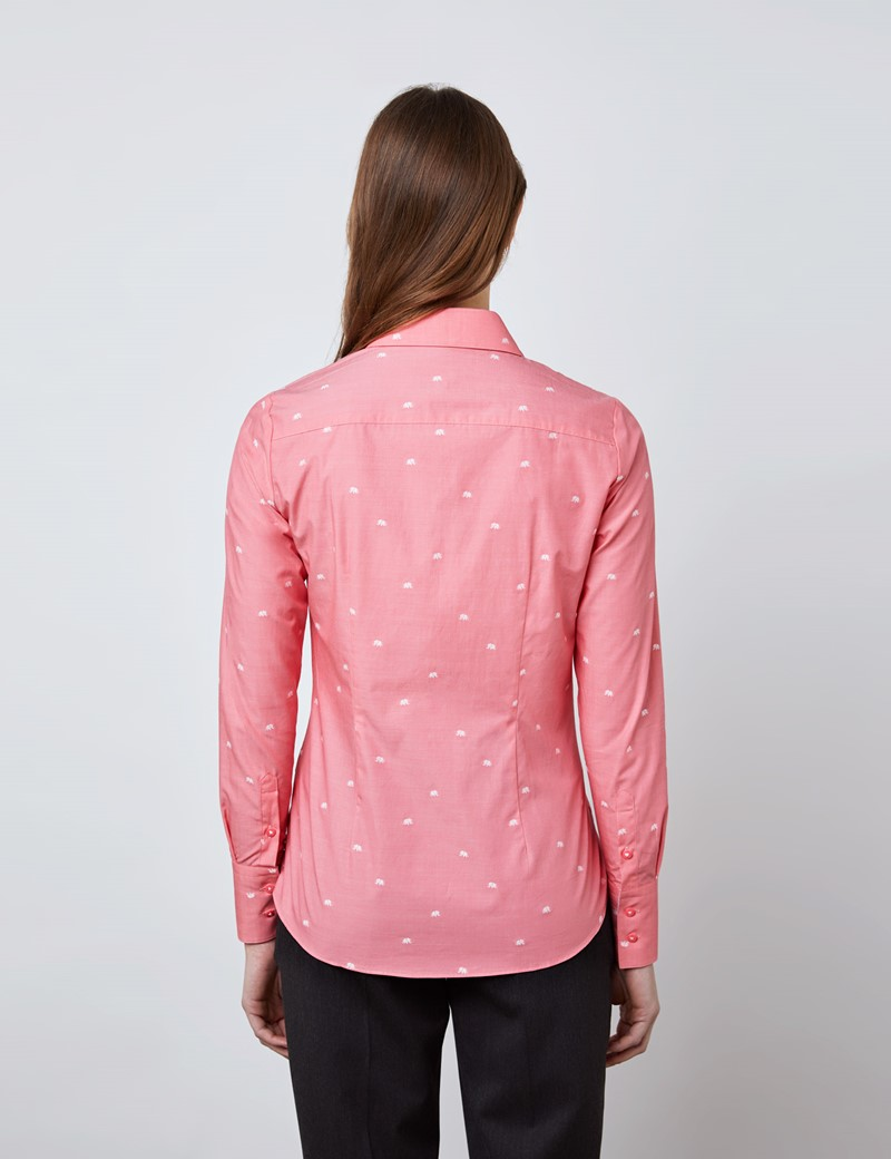 Women's Bright Pink & White Little Elephants Fitted Shirt