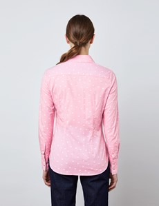 Women's Light Pink & White Dobby Spots Fitted Shirt