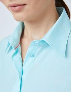 Women's Aqua Dobby Stars Fitted Shirt