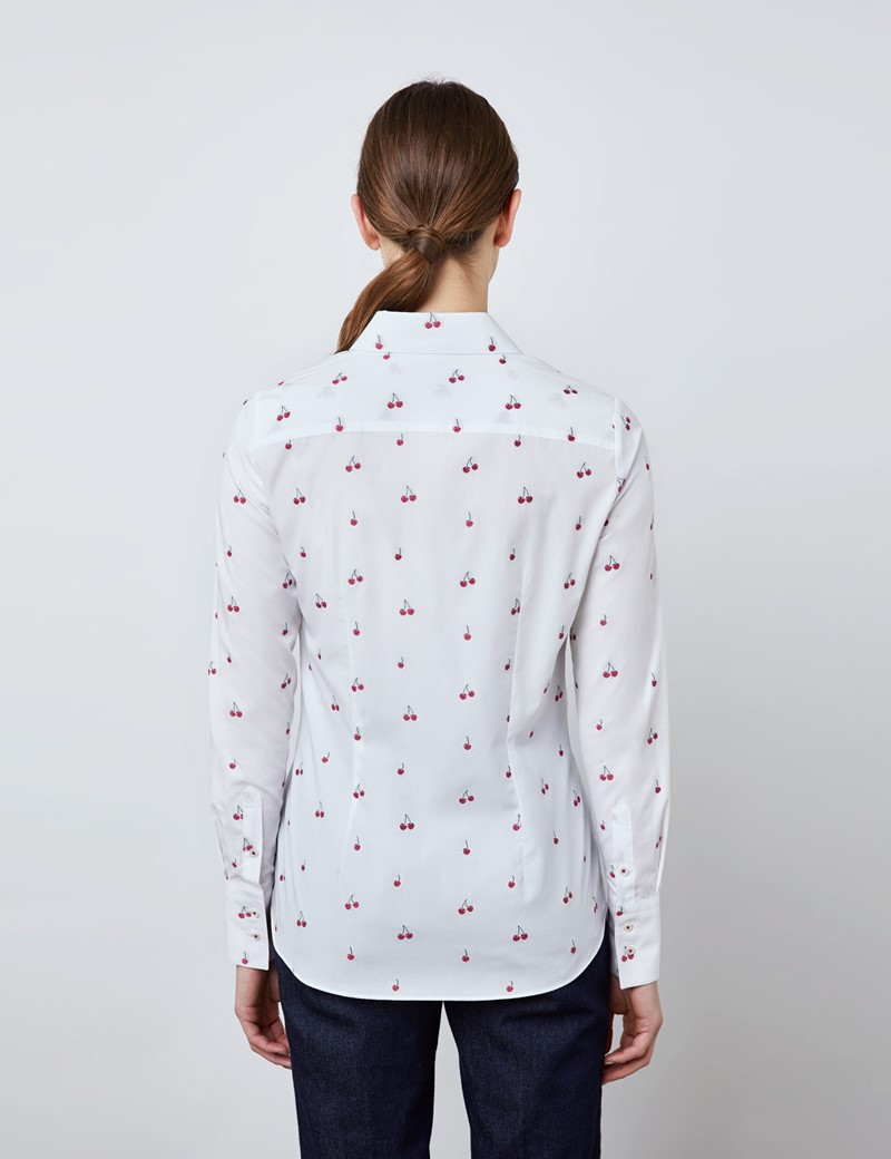 Women's White & Red Small Cherries Print Fitted Shirt