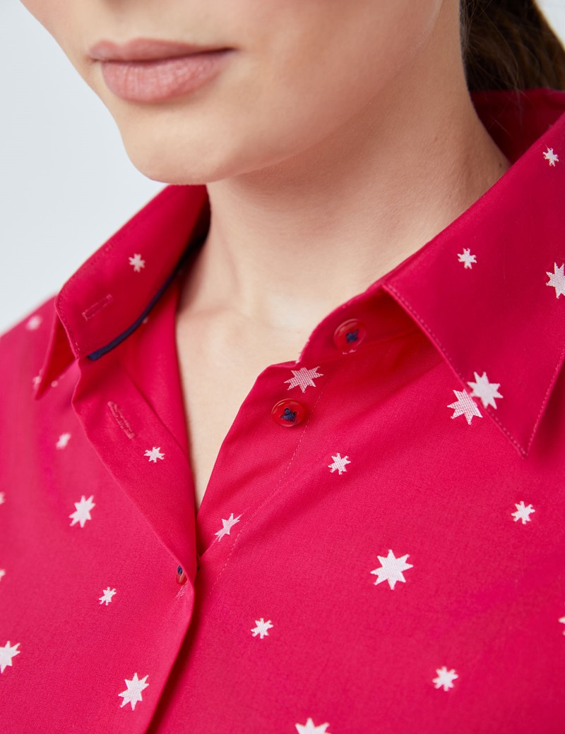 Women's Red Multi Stars Print Fitted Shirt