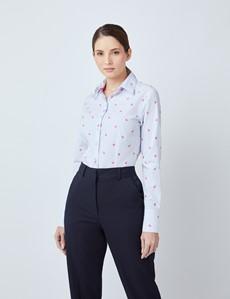 Women's White & Blue Dobby Flamingos Fitted Shirt